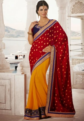 Diffusion Butta Maroon  And  Yellow Embroidered Saree