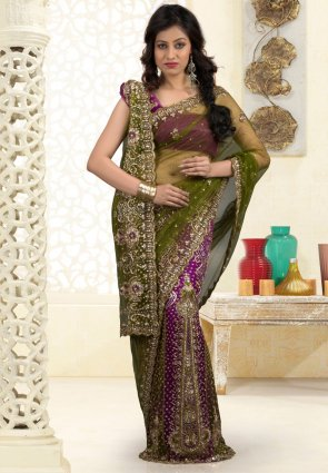 Diffusion Butta Mehendi Green And Violet Embroidered Saree
