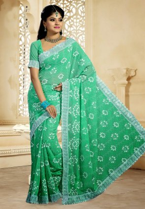 Diffusion Butta Mint Green Embroidered Saree