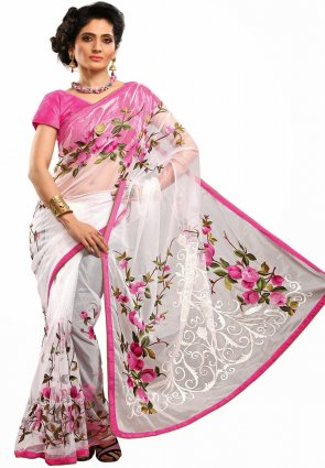 Diffusion Butta Off White Embroidered Saree