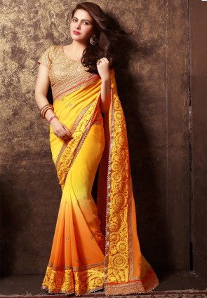 Diffusion Butta Orange And Yellow Embroidered Saree