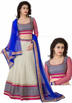 Diffusion Butta Pale Gray And Pale Off White Lehenga Choli
