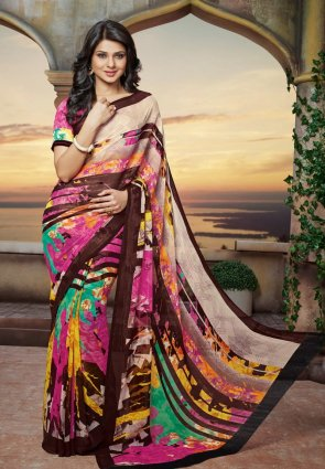 Diffusion Butta Pink, Beige And Magenta Embroidered Saree