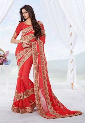 Diffusion Butta Red Embroidered Saree