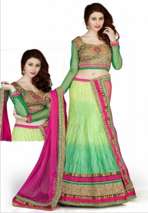 Diffusion Captivating Aloe Vera Green And Mint Green Lehenga Choli
