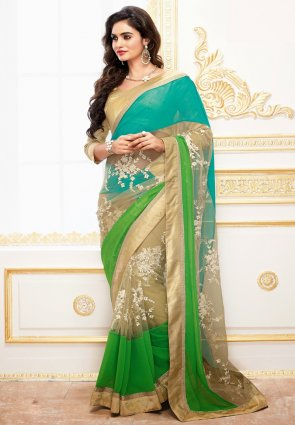 Diffusion Captivating Beige And Lime Green Embroidered Saree