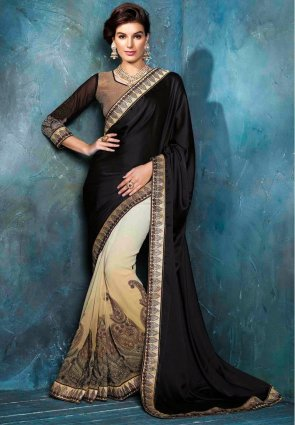 Diffusion Captivating Black And Buttercream Embroidered Saree