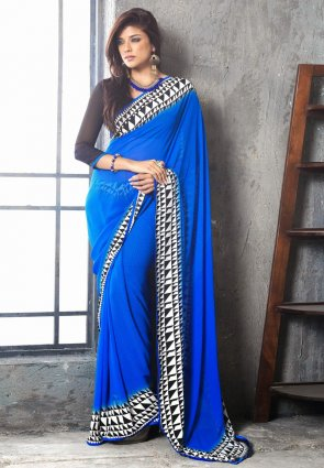 Diffusion Captivating Blue Embroidered Saree