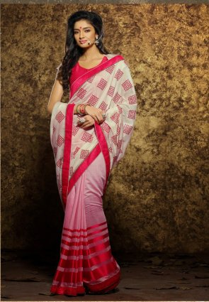 Diffusion Captivating Buttercream And Deep Pink Embroidered Saree