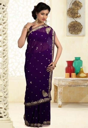 Diffusion Captivating Deep Purple Embroidered Saree