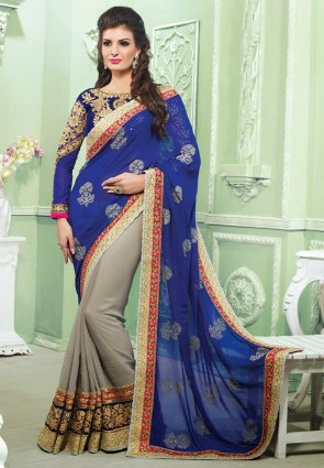 Diffusion Captivating Gray And Royal Blue Embroidered Saree