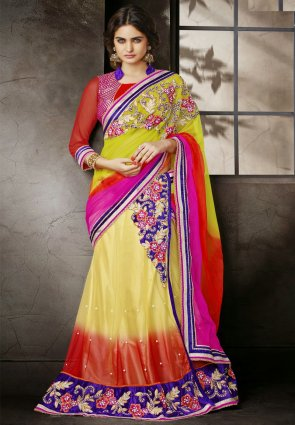 Diffusion Captivating Lime Green  And  Yellow Embroidered Saree