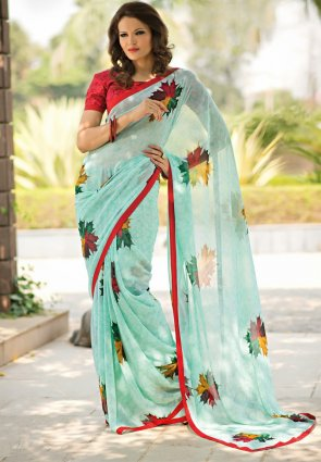 Diffusion Captivating Off White And Pale Cyan Blue Printed Saree