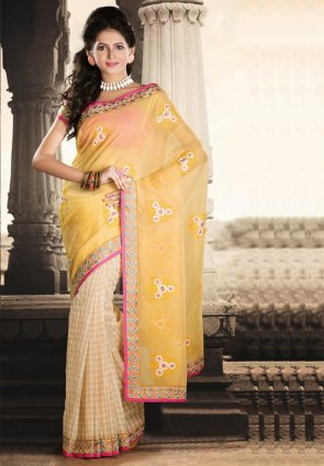Diffusion Captivating Off White And Pale Yellow Embroidered Saree