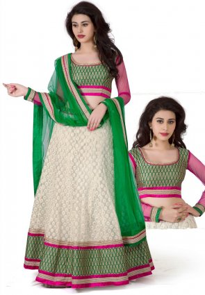 Diffusion Captivating Pale Gray And Pale Off White Lehenga Choli