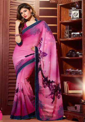 Diffusion Captivating Pink Printed Saree