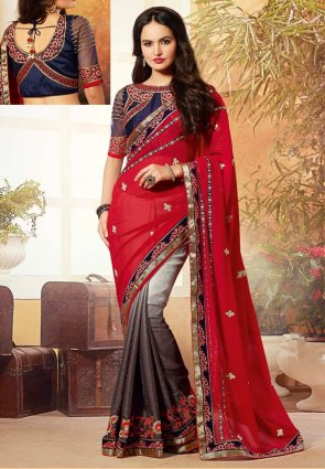 Diffusion Captivating Red And Saddle Brown Embroidered Saree