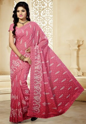 Diffusion Captivating Salmon Embroidered Saree