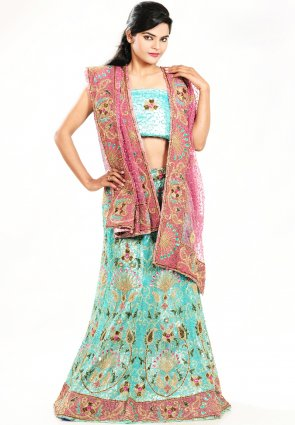Diffusion Charming Aqua Blue Chaniya Choli