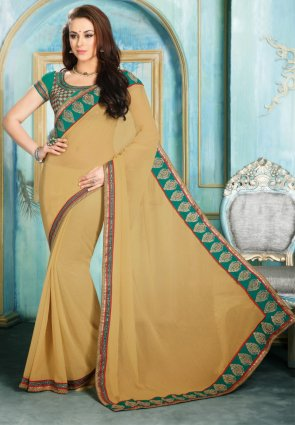 Diffusion Charming Beige Embroidered Saree