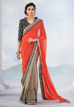 Diffusion Charming Beige And Coral Embroidered Saree