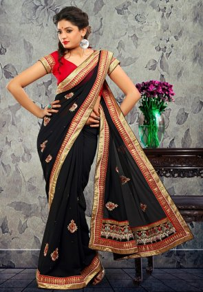 Diffusion Charming Black Embroidered Saree