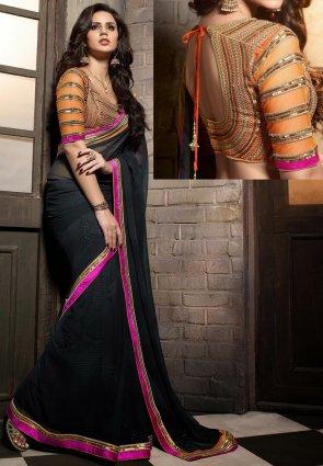 Diffusion Charming Black Embroidered Saree