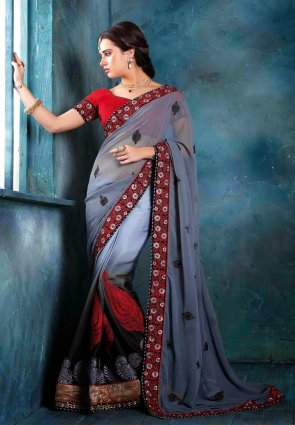 Diffusion Charming Black And Gray Embroidered Saree