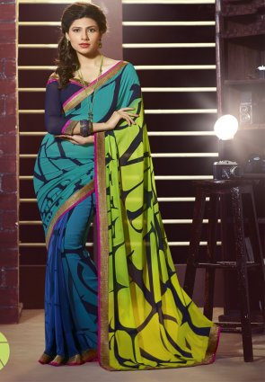 Diffusion Charming Blue And Lime Green Printed Saree