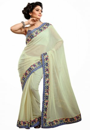Diffusion Charming Buttercream Embroidered Saree