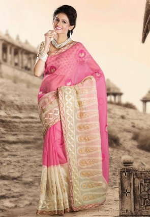 Diffusion Charming Buttercream And Rose Pink Embroidered Saree