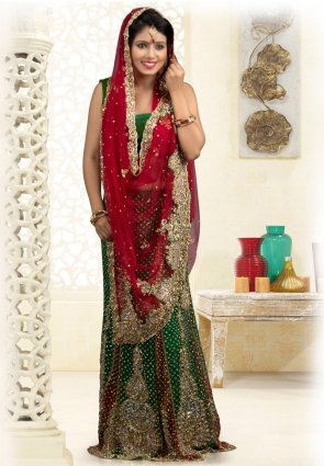 Diffusion Charming Emerald Green And Maroon Embroidered Saree