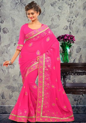 Diffusion Charming Pink Embroidered Saree