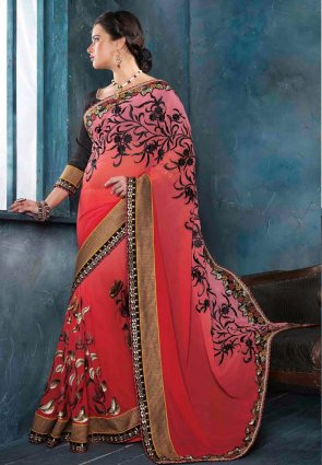 Diffusion Charming Pink And Red Embroidered Saree