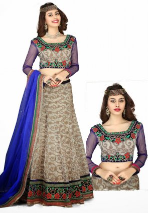 Diffusion Chic Beige And Pale Gray Lehenga Choli