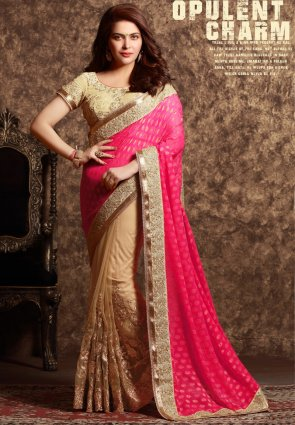 Diffusion Chic Beige And Pink Embroidered Saree