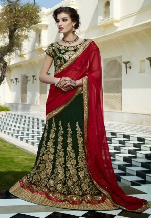 Diffusion Chic Bottle Green Lehenga Choli