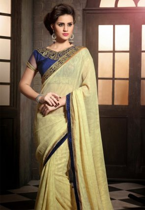 Diffusion Chic Buttercream Embroidered Saree