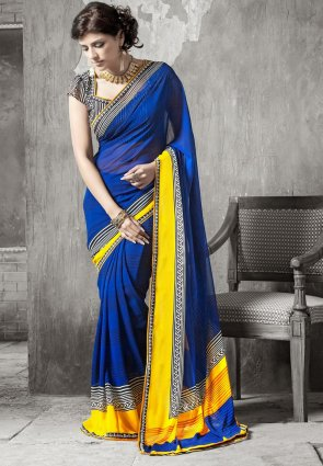 Diffusion Chic Deep Blue Embroidered Saree