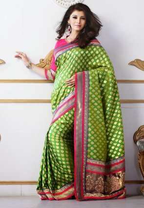 Diffusion Chic Green Embroidered Saree