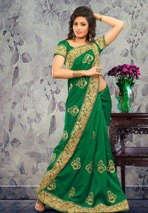 Diffusion Chic Green Embroidered Saree