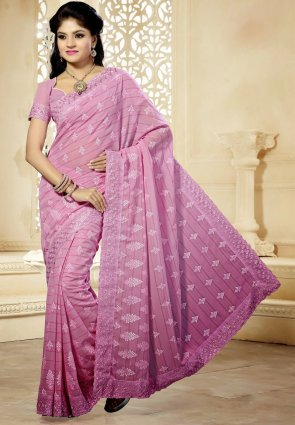 Diffusion Chic Lavender Embroidered Saree