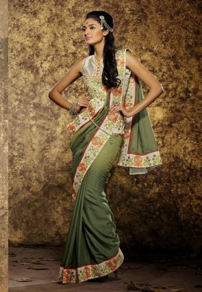 Diffusion Chic Mehendi Green And Pale Bottle Green Embroidered Saree