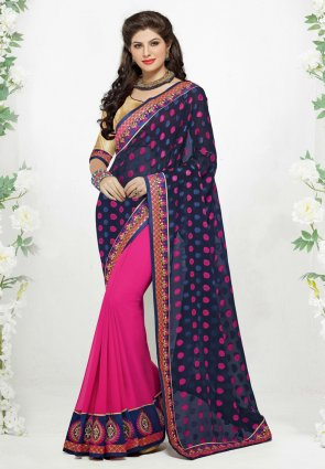 Diffusion Chic Navy Blue And Pink Embroidered Saree