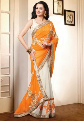 Diffusion Chic Off White And Orange Embroidered Saree