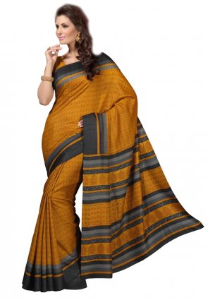 Diffusion Chic Orange Printed Saree