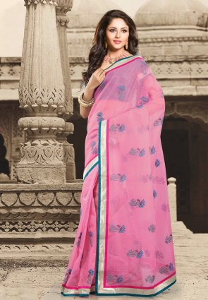 Diffusion Chic Rose Pink Embroidered Saree