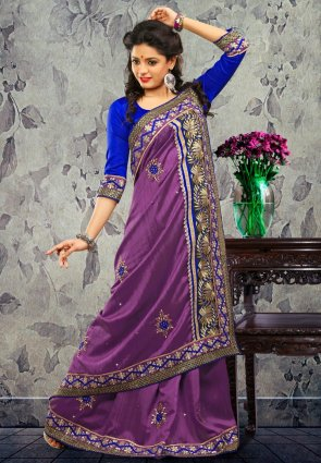 Diffusion Chic Violet Embroidered Saree