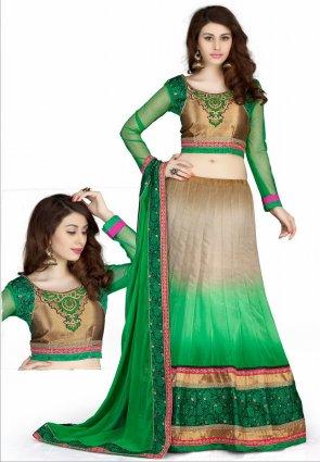 Diffusion Classy Beige And Green Lehenga Choli