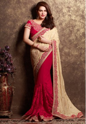 Diffusion Classy Beige And Red Embroidered Saree